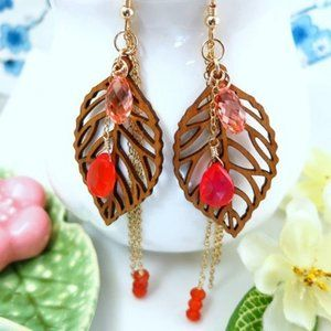Gold filled wood leaf orange chalcedony earrings